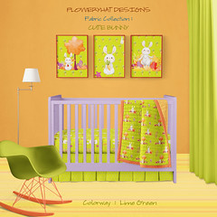 CUTE-BUNNY-Lime-Green-NURSERY-ROM-MOCKUP-by-FloweryHat (FLOWERYHAT DESIGNS) Tags: floweryhat spoonflower fabric textile fabrics family bunny rabbit hare lime green orange baby children childhood cute child trees flowers watercolor frames framed sewing stiching upholstery mockup interiors home sunny happy woodland room nursery blanket bed bedding skirt duvet
