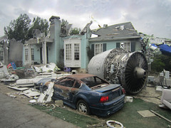 War of the Worlds Film Set at Universal Studios (big_jeff_leo) Tags: usa film movie hollywood california studio street damaged crash war