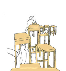 Moccasin, Karlsruhe, February 2018 (stevefaradaysketches) Tags: karlsruhe moccasin cafe tables stools inkdrawing urbansketch