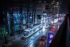 Kansas City Streetcar Tilt (Jonathan Tasler) Tags: kansascity streetcar rain downtown wet night tiltshift nikon