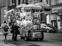 hotdog vendor (Web-Betty) Tags: newyork nyc ny newyorkcity bigapple manhattan city urban vendor hotdogvendor bnw blackandwhite