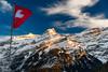 Love Switzerland (SLpixeLS) Tags: switzerland suisse mountain montagne alpes lesdiablerets glacier3000 flag drapeau sky ciel cloud nuage sunset coucherdesoleil snow neige light lumière