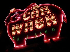 Elephant Super Car Wash 2 (FFWoodycooks) Tags: neon sign seattle pink green denny way
