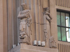 Hearst Building Lobby Statues 57th street NYC 7045 (Brechtbug) Tags: hearst building statues across from 57th street 8th ave new york city caryatid atlantid 2018 nyc 02192018 art architecture gargoyle gargoyles statue sculpture sculptures facade figures column columns stone stones concrete block blocks buildings avenue publishing publisher news paper newspaper deco comedy jester mask clown tragedy