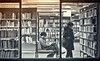 the public library (plw1053) Tags: plw1053 paullgwells candid window library tenfiftythreeimagescom tenfiftythreeimages people monochrome mono blackandwhite bw toned books shelves lighting lights