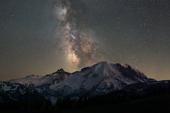 Rainier (Mike Ver Sprill - Milky Way Mike) Tags: mount rainier milky way mike galaxy starry night sky stars universe space dark skies astrophotography astronomy washington state long exposure tracker ioptron travel mountain range mountains snow ice peak summit nightscape