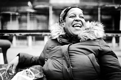 IMG_8375 (JetBlakInk) Tags: candid portrait women afrocaribbean afro mono streetphotography streetscene parker smiling blackwoman face laughing lol laughoutloud