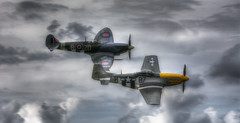 Frankie and Spitfire MH434 (nigdawphotography) Tags: aeroplane aircraft american display fighter fly mustang p51d pilot plane usaf ferociousfrankie supermarinespitfire spitfire raf allied mh434
