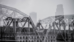 experimenting - omaha double exposure in black and white (laughlinc) Tags: 169 omaha skyscraper nikon bridge blackandwhite bnw unionpacific laughlinc nikond7200 skyline doubleexposure lightroom railroad