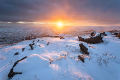 Snow on Healaugh Crag (matrobinsonphoto) Tags: healaugh crag crags rocks rocky outcrop gritstone snow snowy wintry covered frozen white landscape cold winter seasons outdoors countryside scenery beautiful nature natural light sunset sunlight sun golden hour moody sky dark blue orange dramatic hill valley mountain hills moor moorland swaledale north yorkshire dales national park arkengarthdale view uk england english