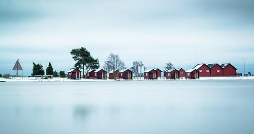 Lång slutartid får Ängaskärs vatten att se ut som is