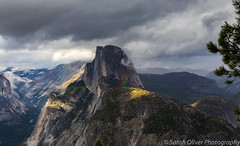 A hint of a rainbow and Sentinel Dome (sarahOphoto) Tags: california unitedstates us yosemite national park sentinel dome rainbow cloud sky mist mountains landscape canon 6d nature rock formation glacier point view america united states outdoors viewpoint