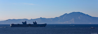 Royal Navy Aircraft Carrier HMS Queen Elizabeth (R08) sailing past Morocco on maiden visit to Gibraltar