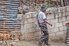 Hi-Ho, High Hoe, it's off to work we go! (Pejasar) Tags: man worker laborer hoe dog walking path hill sanluis guatemala