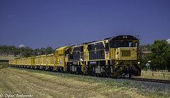 Returning from work. (Dylan B`) Tags: qr queensland rail sleepers sleeper train locomotive loco engine darling downs toowoomba warwick cambooya canon sunny morning railway country