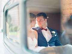 Bride's Cars : Romantic sunset wedding portraits in a vintage Ford model A car   Trendy Bride M... (Wedding Land) Tags: