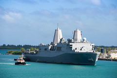 "USS San Diego arrives in Guam for a scheduled port visit (#PACOM) Tags: ussamerica lha6 amphibiousassaultship sailors people usnavy usmc marines cpr3 comphibron3 commanderamphibioussquadron 15thmeu marineexpeditionaryunit arg aarg amaarg ama americaarg amphibiousreadygroup deployment 7thfleet areaofoperations aoo ao amphibioustransportdockshipusssandiegolpd22 usssandiego lpd22 portvisit guam navalbaseguam arrival uspacificcommand ""pacom"