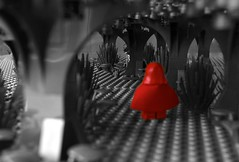 To Grandmother's House She Goes (Wk 7 Something Red) (linda_lou2) Tags: 365the2018edition 3652018 day46365 15feb18 46365 365toyproject odc red 52weeksof2018 week7 themesomethingred categorycreative lego minifigure minifig littleredridinghood woods wolf selectivecolor werewolf series14 grandmavisitor series7 toy scary forest