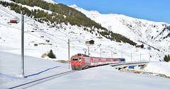 Matternhorn Gotthard Bahn HGe4/4 locomotive_Sedrun, Switzerland_241217_01 (DS 90008) Tags: hge44 matterngotthardbahn mgb 107 railway railtransport mountains switzerland swissrailways swissalps oberalppass sedrun train electrictraction electricloco engineering winter disentis track traction transport