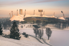 Olympic Stadium Munich (redfurwolf) Tags: olympia olympicstadium munich münchen sunrise landscape architecture stadium snow sky tree lake redfurwolf sonyalpha a99ii sony sonyimaging outdoor travel nature olympiapark