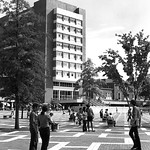 Students cross the Brickyard on the way to class in 1972.