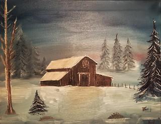 Misty in winter (Bob Ross style)