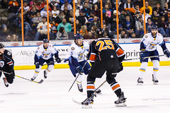 """Kansas City Mavericks vs. Toledo Walleye, January 20, 2018, Silverstein Eye Centers Arena, Independence, Missouri.  Photo: © John Howe / Howe Creative Photography, all rights reserved 2018. • <a style=""""font-size:0.8em;"""" href=""""http://www.flickr.com/photos/134016632@N02/39839487671/"""" target=""""_blank"""">View on Flickr</a>"""