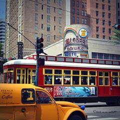 Canal Street (ilovecoffeeyesido) Tags: neworleansla canalstreet streetcar nola downtownneworleans roosevelthotel vintagewalgreens vintagewalgreenssign squareformat frenchtruckcoffee repostedafteraccidentallydeleting