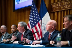 New York City Mayor Bill de Blasio and New York City Police Department Commissioner James P. O'Neill hold a media availability regarding crime statistics at 1 Police Plaza in Lower Manhattan on Tuesday, February 6, 2018. Benjamin Kanter/Mayoral Photo Offi (nycmayorsoffice) Tags: 1policeplaza 1pp billdeblasio commissioner crime crimestatistics crimestats jamespo'neill mayor newyorkcitypolicedepartment newyorkcitypolicedepartmentcommissionerjamespo'neill newyorkcounty onepoliceplaza pd policeplaza cop cops manhattan newyork newyorkcity newyorkcitymayorbilldeblasio nyc nypd police statistics