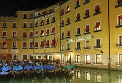 Gondolas & shutters (werner boehm *) Tags: wernerboehm venice gondolas reflection nightshot nachtaufnahme italy italien venedig