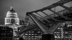 Monochrome Millenium Monument (devil=inside) Tags: monochrome bw nocturnal night dark london architecture structure sony a77 handphotography bridge stpauls