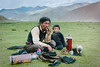Near Lake Yamdrok, Tibet.  July 1987 (johnjackson808) Tags: lakeyamdrok thermos fujifilmxt1 nikon people mountains streetphotography 35mmfilm family 1987 film cigarette