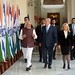 PM Netanyahu and his wife Sara with India's PM modi during a meeting in New Delhi