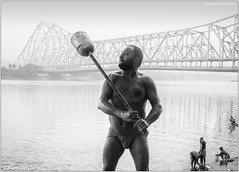 Training Routine (channel packet) Tags: india kolkata howrah bridge wrestler hooghly river monochrome people physical exercise davidhill