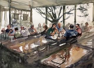 Lunch time at Mosman Hotel. #sketching #watercolour #painting #saunders #roughpaper #art #lunch #watercolourakolamble