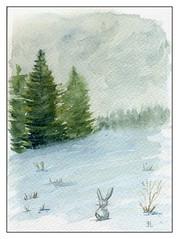 le lapin de la neige (ybipbip) Tags: aquarelle aquarell akvarell watercolor watercolour paint painting pintura paysage landscape