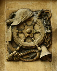 The Captain (Steve Taylor (Photography)) Tags: hat telescope bell wheel chain anchor rope art design architecture brown monocolor monocolour stone uk gb england greatbritain united sailing kingdom london texture eltham elthampalace relief