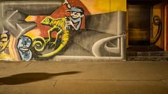 Mural with shadow (schauplatz) Tags: deutschland dunkelheit feuersee nacht stuttgart darkness night mural wandbild streetphotography streetart