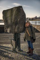 Monument to the Unknown Bureaucrat + 1 (emptyseas) Tags: artist magnús tómasson unknown bureaucrat raðhús city hall reykjavik iceland emptyseas nikon d800 early morning october 2017 tjörnin pond rock stone boulder case sculpture artwork