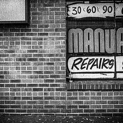 Repairs (robert schneider (rolopix)) Tags: bw blackandwhite wall signs window fp4plus fp4 ilford 120620 120film film rolleiflex ca alameda instagram ifttt