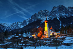 Grainau Evening (hapulcu) Tags: grainau bavaria bayern deutschland duitsland allemagne alemania bavarie winter hiver invierno snow alps alpen alpi alpes church