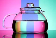 Teapot (Karen_Chappell) Tags: teapot glass pink green blue orange refraction stilllife liquid product multicoloured pastel colourful colours colour color