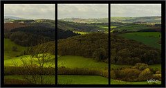 Highlights. Triptych.  . (Picture post.) Tags: landscape nature green hills fields woods trees shadows highlights triptych farm sunlight paysage arbre vista view depth
