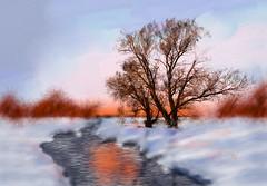 Winter Sun (Pat McDonald) Tags: albrechtfietz artrage digitalart germany pixabay winter snow river stream sun red tree outline
