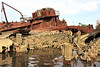 Beached And Swamped (95wombat) Tags: old abandoned rotted decayed derelict rusty decrepit marinegraveyard arthurkill statenisland newyork