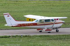 D-EFZH - 1976 build Cessna 172N Skyhawk, taxiing for departure on Runway 24 at Friedrichshafen during Aero 2017 (egcc) Tags: 17268307 172n aero aerofriedrichshafen aerofriedrichshafen2017 bodensee ce172 cessna cessna172 defzh edny fdh friedrichshafen lightroom n733hm skyhawk
