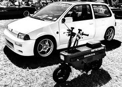 motocompo (fe2cruz) Tags: white monochrome blackwhite black blackandwhite car automobile japanese japaneseclassiccarshow longbeach scooter motocompo folding compact transform honda bw mono