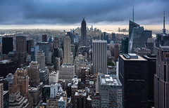 Sunset in New York. (Oleg.A) Tags: usa newyork landscape sunset rockefellercenter nature city cityscape panorama evening town clouds summer building tower megalopolis metropolitain architecture skyscape street rain cloudy outdoor metro nyc america landscapes outdoors unitedstates us