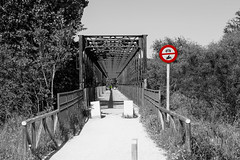Forbidden (Miguel Angel Prieto Ciudad) Tags: bridge color blancoynegro blackandwhite iron train sony sonyalpha spain sonyalphadslr landscape mirrorless madrid móstoles