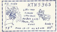 R.I. Hobo & Sandy 4 - Providence, Rhode Island (73sand88s by Cardboard America) Tags: qsl cb cbradio vintage qslcard rhodeisland poor state